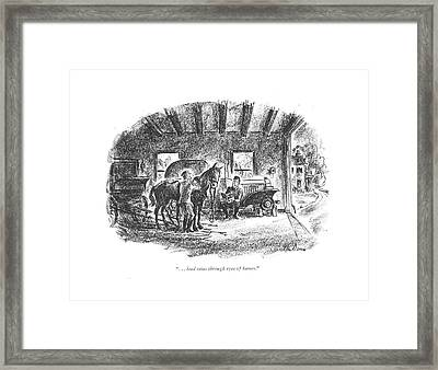 . . . Lead Reins Through Eyes Of Hames Framed Print by Alan Dunn