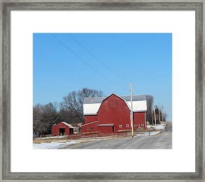 Large Red Barn Framed Print