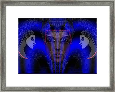 029 - Meeting  Electric Blue   Framed Print by Irmgard Schoendorf Welch