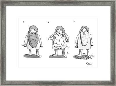 1. Man With Long Beard Holds Razor And Shaving Framed Print