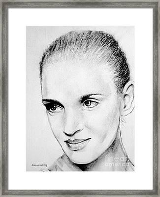 # 10 Uma Thurman Portrait Framed Print by Alan Armstrong