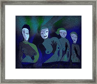 155 - Blue Ladies -1- Framed Print by Irmgard Schoendorf Welch