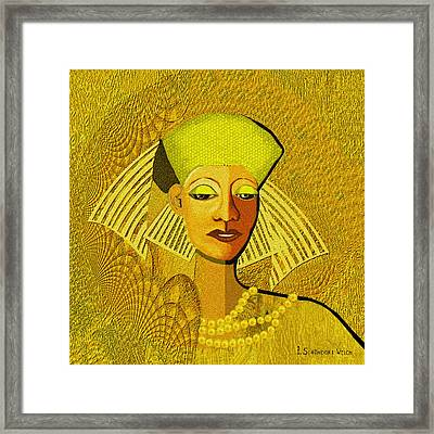 189 Metallic Woman Golden Pearls Framed Print