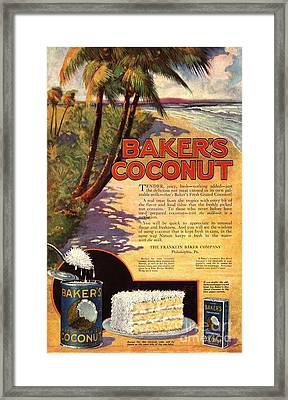 1910s Usa Bakers Coconuts Cakes Baking Framed Print by The Advertising Archives