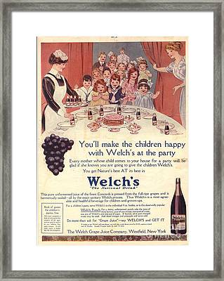 1910s Usa Welchs Juice Children�s Framed Print by The Advertising Archives