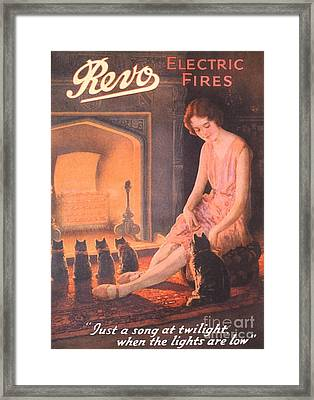 1920s Uk Fires Cats Revo  Appliances Framed Print by The Advertising Archives