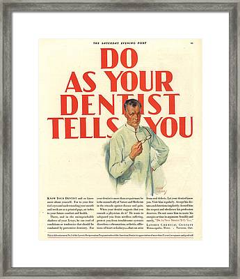 1920s Usa Dentists Lavoris Framed Print by The Advertising Archives