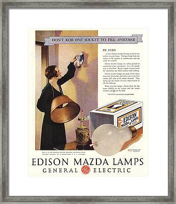 1920s Usa Edison Mazda Lamps General Framed Print by The Advertising Archives