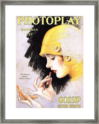 1920s Usa Photoplay Lipsticks Putting Framed Print by The Advertising Archives