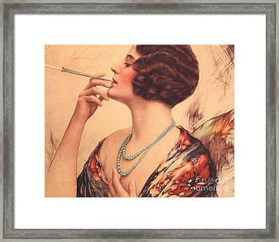1920s Usa Women Cigarettes Holders Framed Print by The Advertising Archives