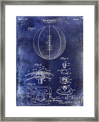 1927 Basketball Patent Drawing Blue Framed Print by Jon Neidert
