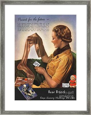 1930s Uk Bear Brand Crepe Luxury Framed Print by The Advertising Archives