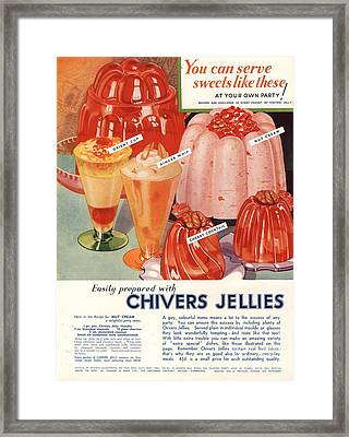 1930s Uk Chivers Jelly Desserts Framed Print by The Advertising Archives