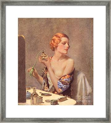 1930s Uk Perfume Woman Doing Framed Print
