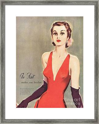 1940s Uk Au Fait Womens Dresses Gloves Framed Print by The Advertising Archives