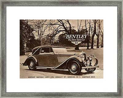 1940s Uk Bentley Sports Cars Framed Print