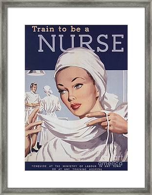 1940s Uk Nurses Recruitment World War Framed Print
