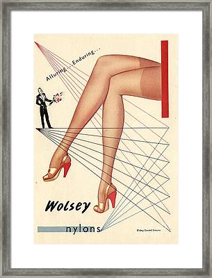 1940s Uk Wolsey Womens Hosiery Framed Print by The Advertising Archives