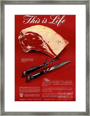 1940s Usa Meat Framed Print by The Advertising Archives