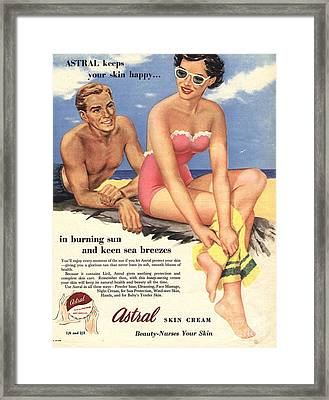 1950s Uk Sun Creams Lotions Tan Framed Print
