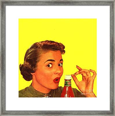 1950s Usa Catsup Tomato Sauce Lids Mrs Framed Print by The Advertising Archives