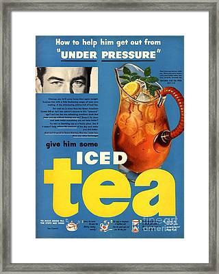 1950s Usa Iced Tea Framed Print by The Advertising Archives