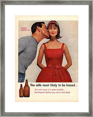 1950s Usa Kissing Sexism Framed Print by The Advertising Archives