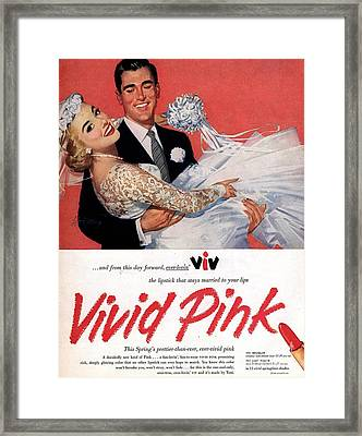 1950s Usa Lipsticks Lipstick Weddings Framed Print