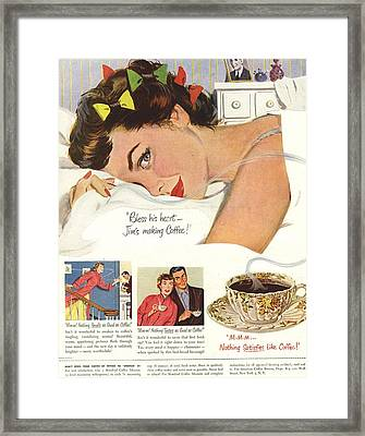 1950s Usa Sleep Sleeping Coffee Smell Framed Print