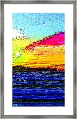 3-d Sunset On The Beach Framed Print