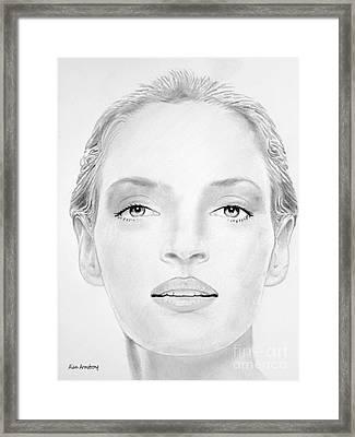 # 3 Uma Thurman Portrait Framed Print by Alan Armstrong