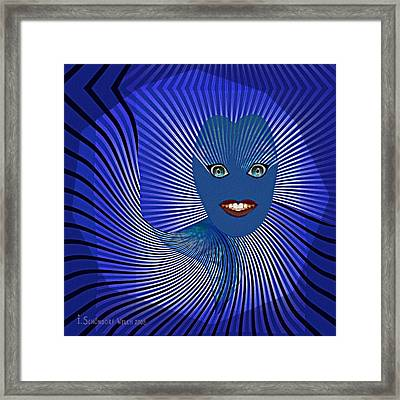 383 - Happy Blue Little  Monster   Face Framed Print by Irmgard Schoendorf Welch