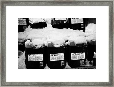 -40c Windshield Washer Fluid Covered In Snow For Sale Outside Store In Saskatoon Saskatchewan Canada Framed Print