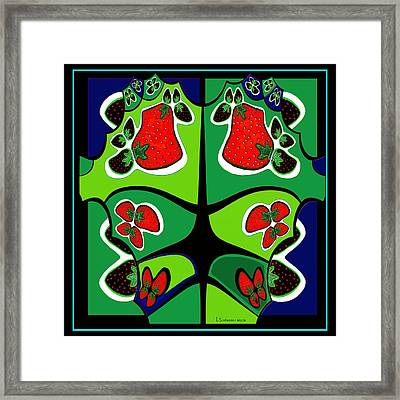 493 - Strawberry Wild  Framed Print by Irmgard Schoendorf Welch