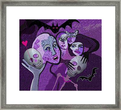524 - Skull And Friends Framed Print by Irmgard Schoendorf Welch