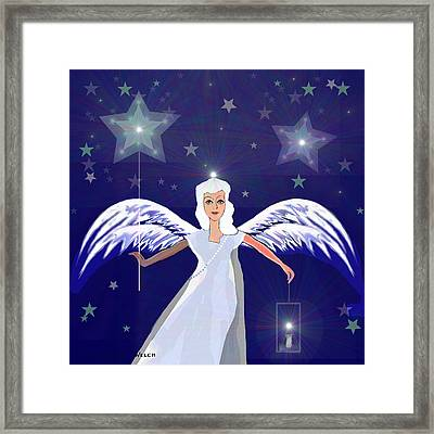 806 -  Christmas Angel  With  Lantern  Framed Print by Irmgard Schoendorf Welch