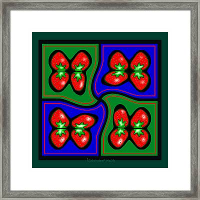 897 - Strawberry Pop  Pillow Framed Print by Irmgard Schoendorf Welch