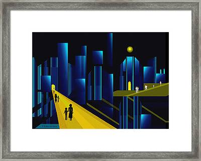 955 -  Moonlit City    Framed Print by Irmgard Schoendorf Welch