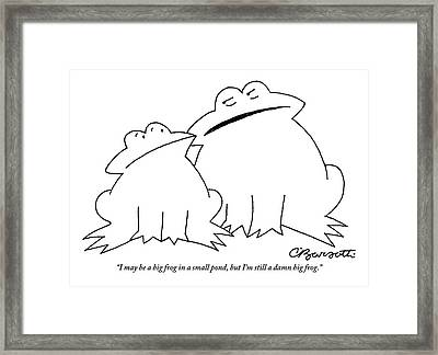 A Big Frog Talks To A Smaller Frog Framed Print