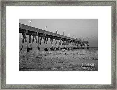 A Black And White Of Johnnie Mercers Pier At Daybreak Framed Print