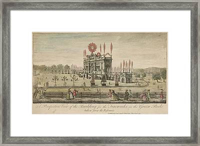 A Fireworks Display At Green  Park Framed Print by Mary Evans Picture Library