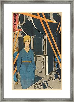 A Frenchwoman Working In A  Factory Framed Print