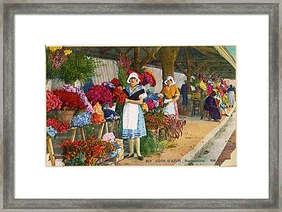 A Girl On A Flower Market On  The Cote Framed Print