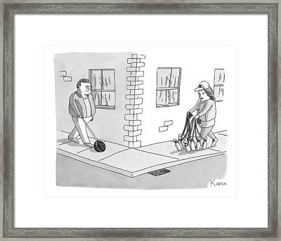 A Man With A Bowling Ball On A Leash And A Woman Framed Print