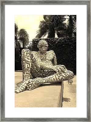 A Maze Ing Man 13 Sepia Framed Print by Rob Hans