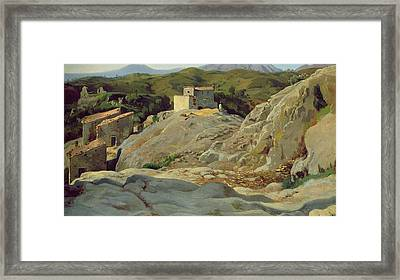 A Village In The Mountains Framed Print by Louis Gurlitt