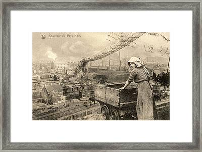 A Woman Working In The Belgian  Pays Framed Print