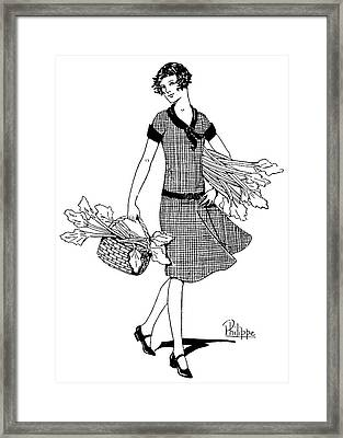 A Young Woman With A Bunch Of  Rhubarb Framed Print by Mary Evans Picture Library