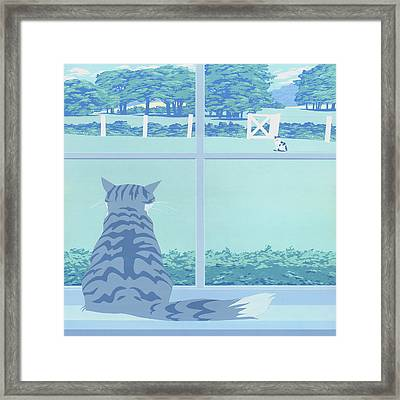 Abstract Cats Staring Stylized Retro Pop Art Nouveau 1980s Green Landscape - Square Format Framed Print by Walt Curlee
