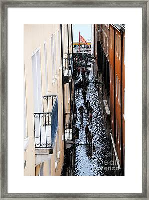Acqua Alta Welcome From Water Taxi Framed Print by Jacqueline M Lewis